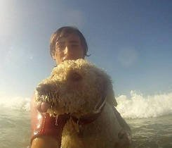 … surfing with his dog