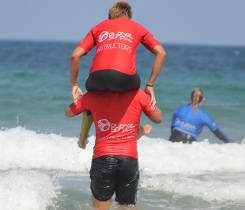 acrobats in the junior surf lessons