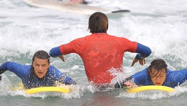 Surf lessons for families