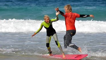 Surf lessons for the whole family