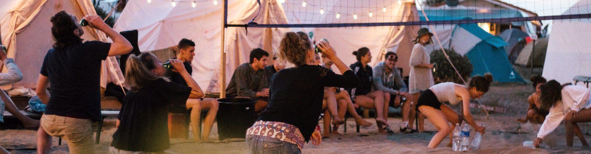 Vieux Boucau Komfortable glamping Zelte bei Nacht