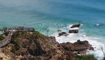Bester Blick auf die Surfer in Byron Bay