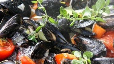 Muscheln und andere Meeresfrüchte